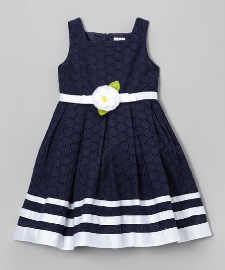 Navy Ribbon Eyelet Dress - Toddler & Girls