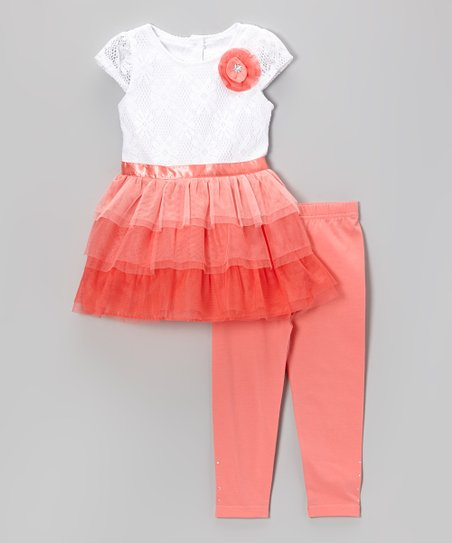 Coral & White Tiered Ruffle Dress & Leggings - Toddler & Girls