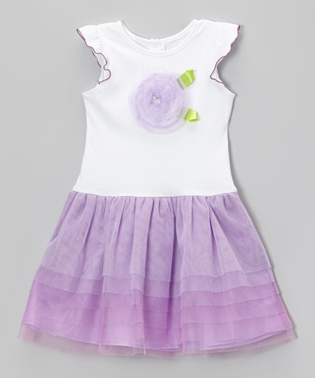 Purple Rosette Tiered Ruffle Dress - Toddler & Girls