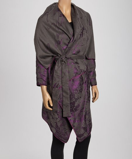 Purple & Gray Wool-Blend Belted Cardigan
