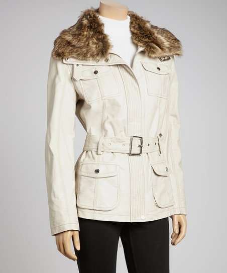 Warm Stone Faux Leather Sash Jacket