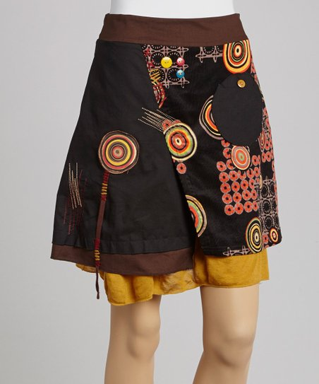 Black Circle Patchwork Peasant Skirt