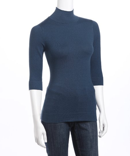 Denim Blue Mock Neck Sweater - Women