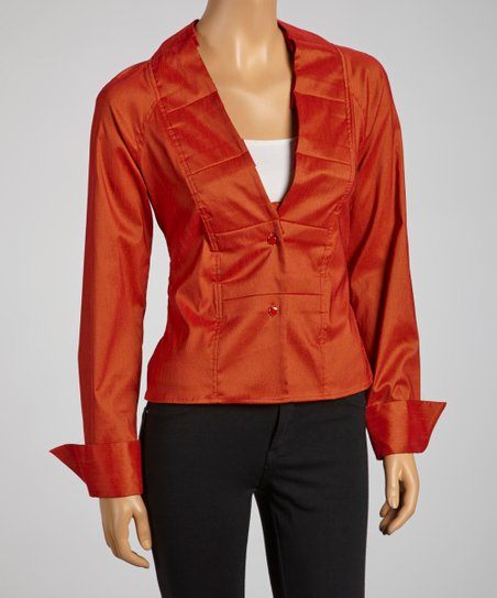 Burnt Orange Pleated Collar Tie-Waist Button-Up
