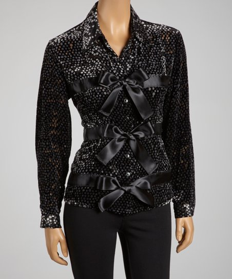 Black Polka-Dot Satin Bow Top