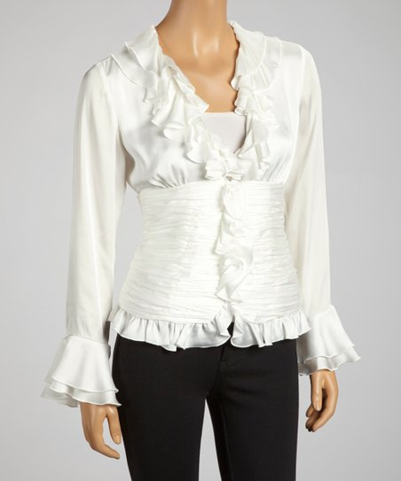 Ivory Plisse Pleat Zip-Up Top