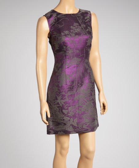 Purple & Gray Sheath Dress