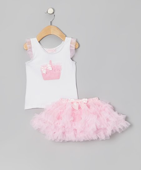 White Tote Top & Tutu - Infant, Toddler & Girls