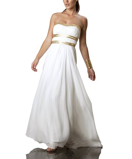 Ivory & Gold Strapless Dress - Women