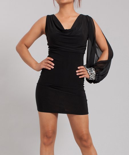 Black Embellished Cuff Asymmetrical Dress - Women
