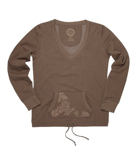 Heather Dark Brown French Terry V-Neck Pullover - Women