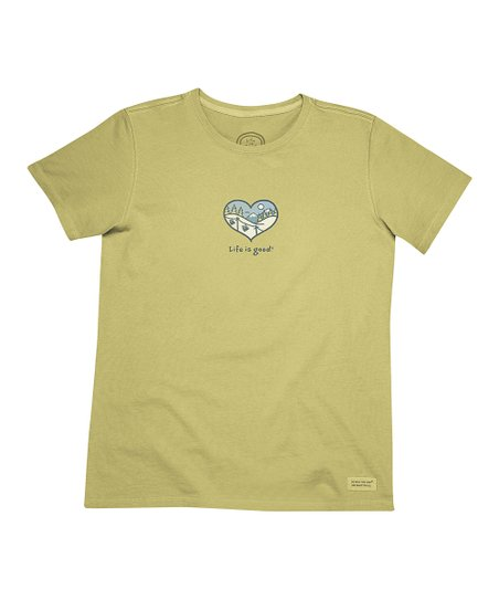 Retro Green Snow Scenic Heart 'Life Is Good' Crusher Tee - Women