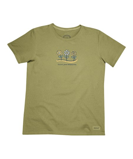 Retro Green 'Count Your Blossoms' Crusher Tee - Women