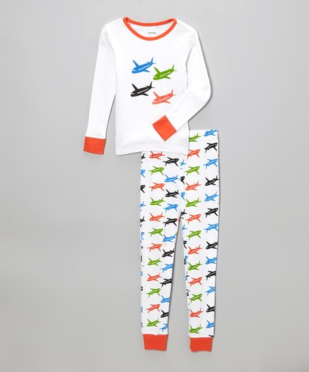 White & Orange Airplanes Pajama Set - Boys