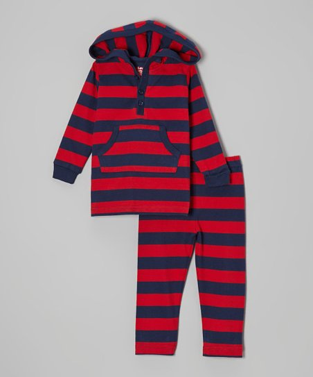 Navy & Red Stripe Hooded Top & Pants - Infant, Toddler & Boys