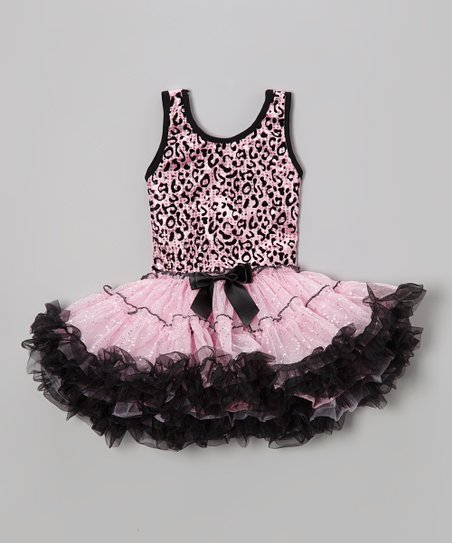 Pink Leopard Sequin Ruffle Dress - Toddler & Girls