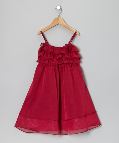 Burgundy Flutter Dress - Toddler & Girls