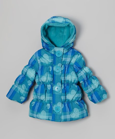 Turquoise Heart Plaid Puffer Coat - Toddler & Girls