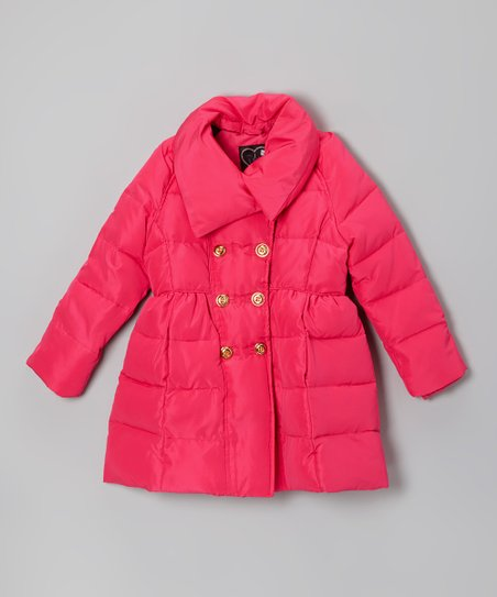 Fuchsia Double-Breasted Puffer Coat - Toddler & Girls