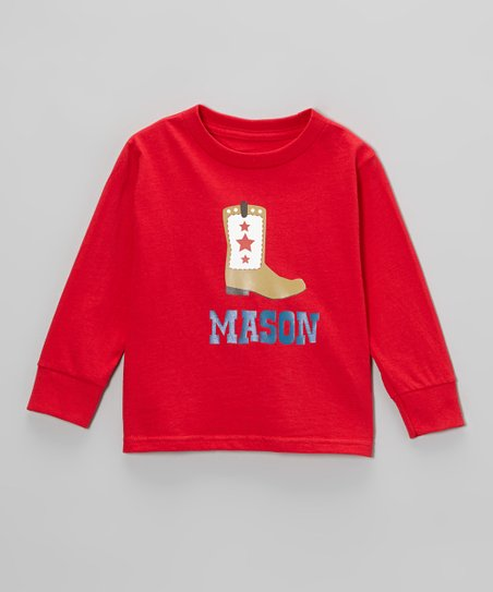 Red Cowboy Boot Personalized Tee - Infant, Toddler & Boys