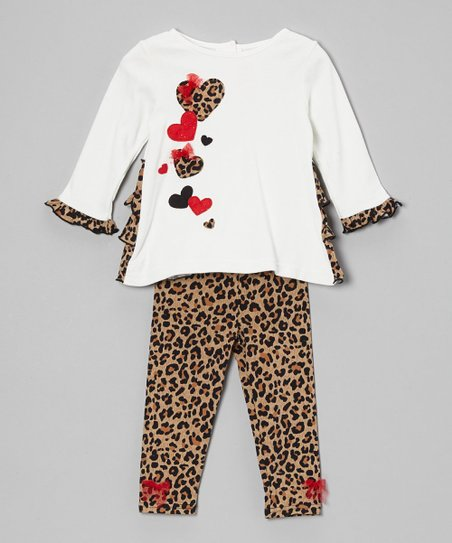 Crème & Leopard Tunic & Bow Leggings - Infant