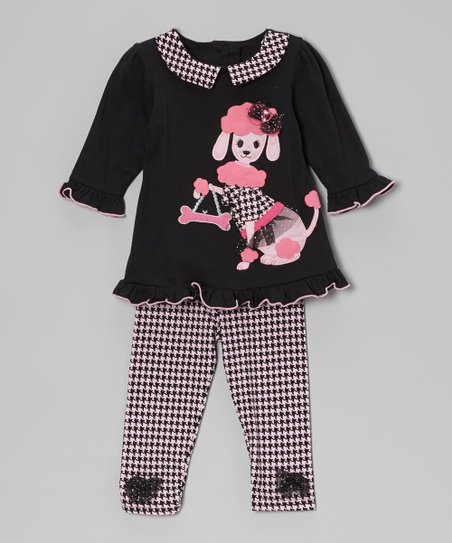 Black & Pink Houndstooth Tunic & Leggings - Infant