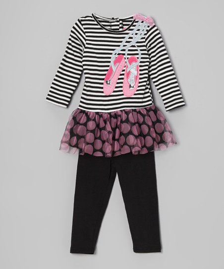 Black & White Stripe Ballet Tunic & Leggings - Infant & Toddler