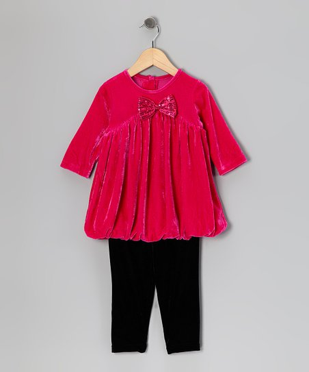 Hot Pink Bubble Tunic & Black Leggings - Infant & Girls