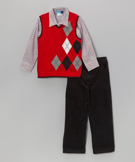 Red Argyle Sweater Vest Set - Boys