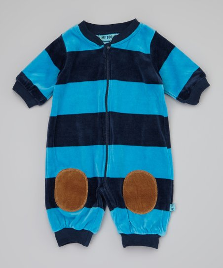 Blue Stripe Bibba Romper - Infant