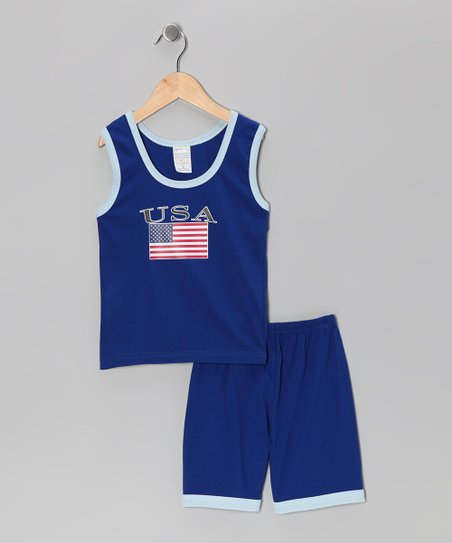 Royal 'USA' Flag Tank & Shorts - Infant, Toddler & Kids