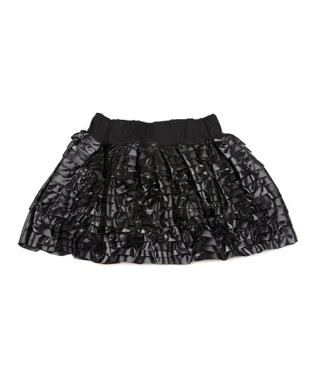 Black Faux Leather Ruffle Skirt - Infant, Toddler & Girls