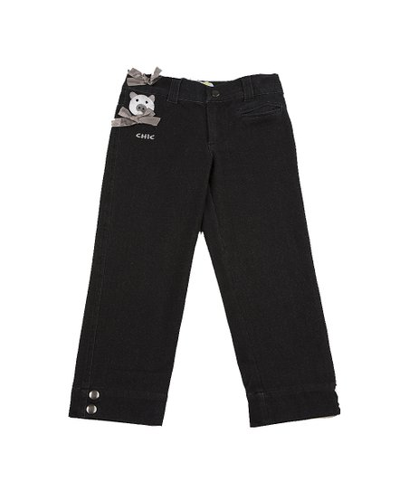 Black Animal Bow Jeans - Girls