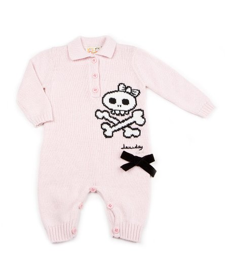 Light Pink Skull Polo Sweater Playsuit - Infant