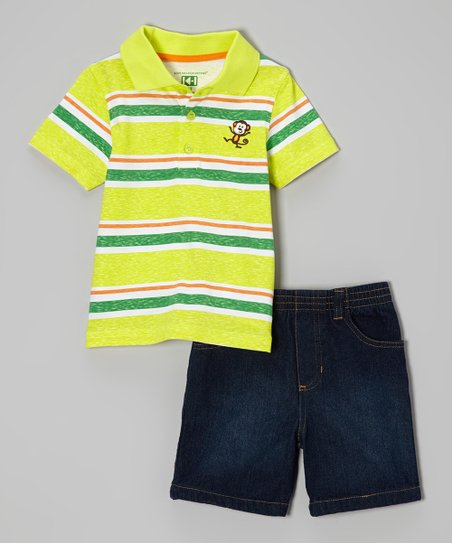 Lime Green Stripe Polo & Denim Shorts - Infant, Toddler & Boys