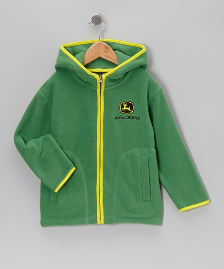 Green & Yellow Fleece Zip-Up Hoodie - Kids