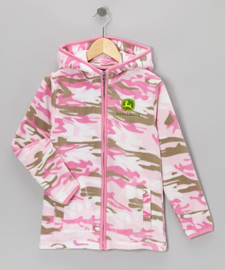 Pink Camouflage Fleece Hoodie - Girls