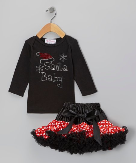 Black 'Santa Baby' Tee & Pettiskirt - Infant, Toddler & Girls