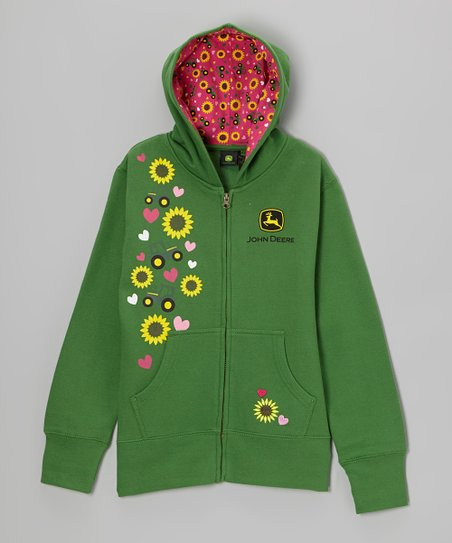 Green Flower Zip-Up Hoodie - Toddler & Girls