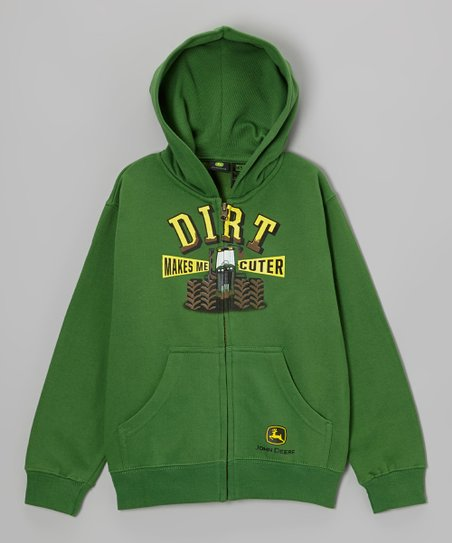 Green 'Dirt Makes Me Cuter' Zip-Up Hoodie - Boys