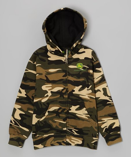Camo Branded Zip-Up Hoodie - Boys