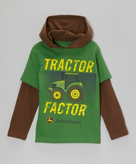 Green 'Tractor Factor' Layered Hooded Tee - Boys