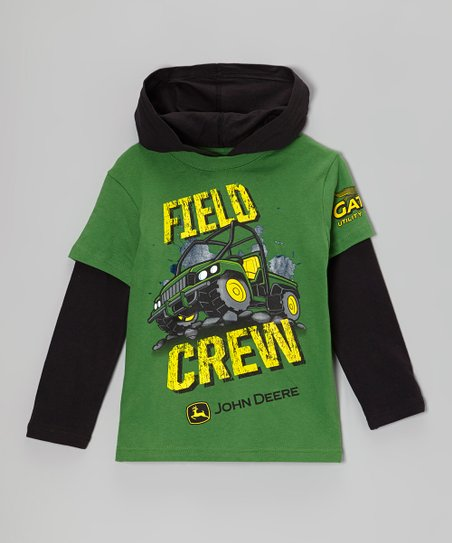 Green 'Field Crew' Layered Hooded Tee - Boys