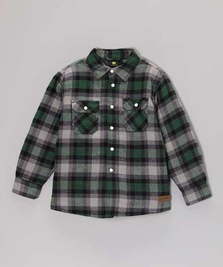 Green Plaid Button-Up - Boys