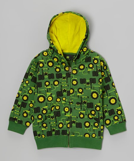 Green Tractors Zip-Up Hoodie - Infant & Toddler