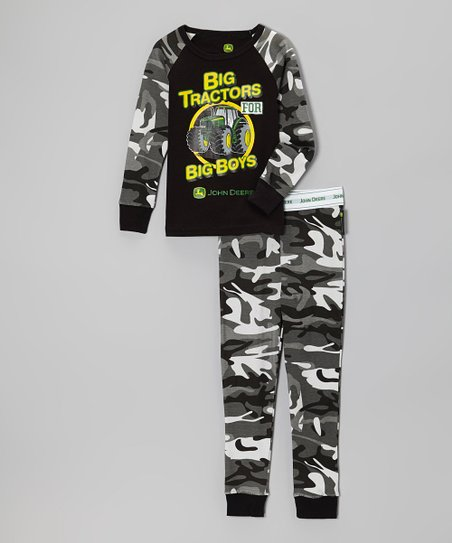 Black Camo 'Big Tractors' Pajama Set - Infant, Toddler & Boys