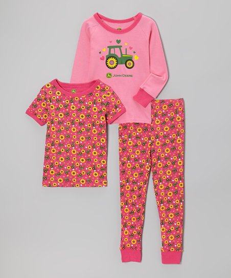 Hot Pink Flower Pajama Set - Infant, Toddler & Girls