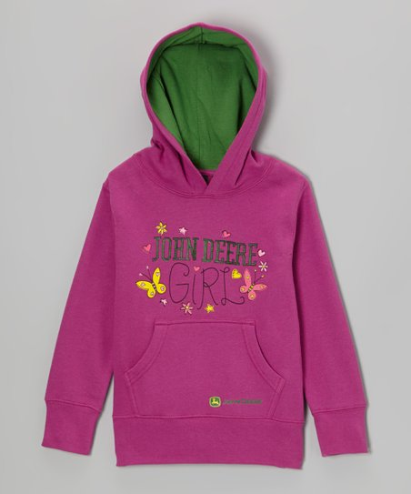 Medium Pink 'John Deere Girl' Hoodie - Girls