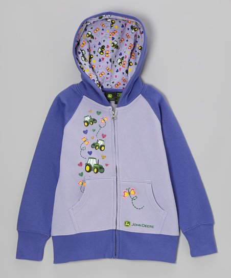 Purple Tractor Butterfly Zip-Up Hoodie - Girls