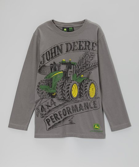 Charcoal Gray '4x4 Performance' Long-Sleeve Tee - Boys